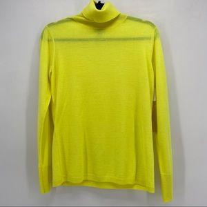 Halogen Lemon Yellow Merino Wool Turtleneck New
